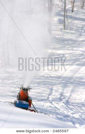 A Snow Making Machine In Action