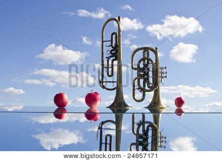 Brass Instruments On Mirror And Apples