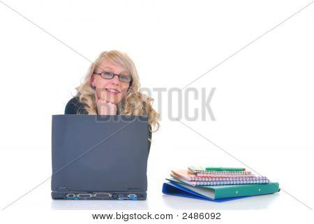 Teen Student Working On Laptop