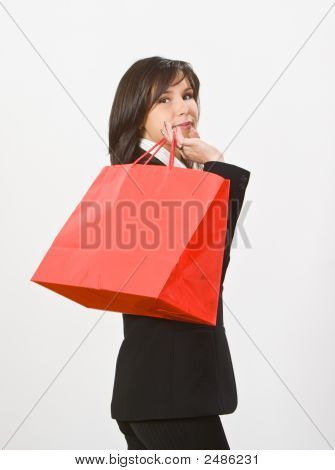 Woman With A Red Shopping Bag