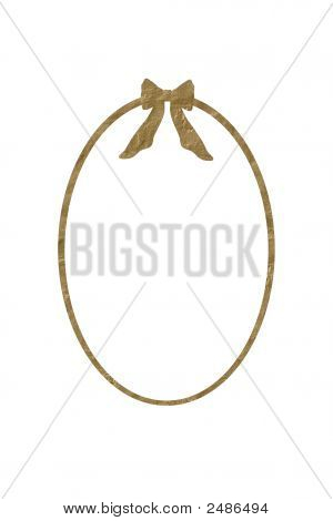 Oval Golden Frame With Bow