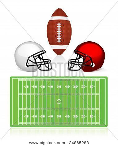 american football field, ball and helmet
