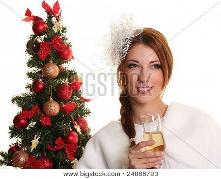 beautiful young santa-girl on white