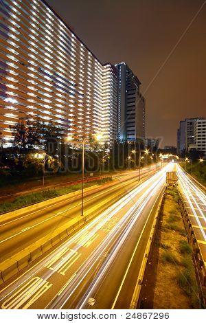 Business Area Of Hongkong At Night