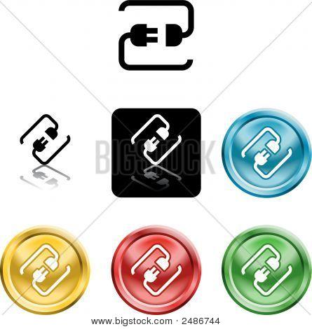 Icon Symbol Of A Stylised Plug Connecting