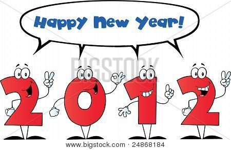 2012 New Year Numbers Cartoon Characters With Speech Bubble