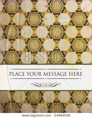 scrapbook-style retro background or greeting card with stained paper, label