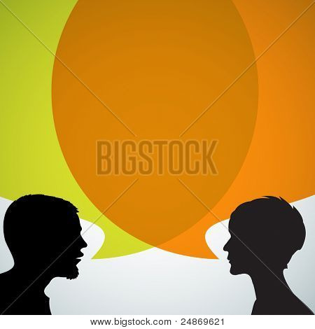 Abstract speakers silhouettes with big orange bubble (chat, dialogue, talk or discussion)