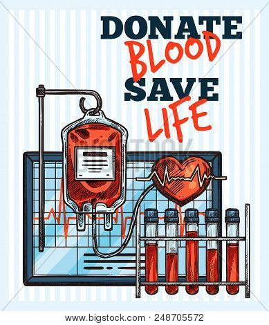 poster of Blood Donation Sketch Design For World Blood Donor Day. Vector Lettering And Medical Items Of Cardio