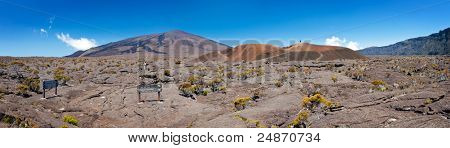 Panoramic view of Formica and Dolomieu craters in Reunion National Park; Reunion Island.