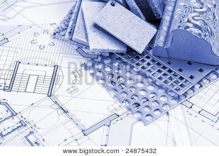 samples of plastics, PVC, for furnishing, artificial stone, perforated metal, coated with a polymer and architectural plans for houses