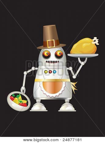 A robot dressed for Thanksgiving and serving turkey dinner, fruit and vegetables. Isolated on black with space for you text. EPS10 vector format.