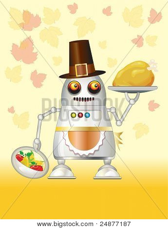 A robot dressed for Thanksgiving and serving turkey dinner, fruit and vegetables. EPS10 vector format. Space for your text.
