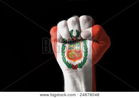 Fist Painted In Colors Of Peru Flag