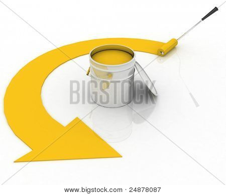 open bucket with yellow paint and roller