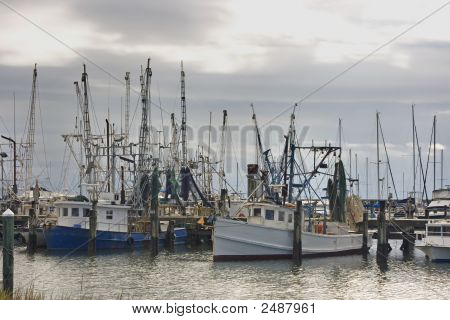 Dawn On The Shrimp Boat Harbor