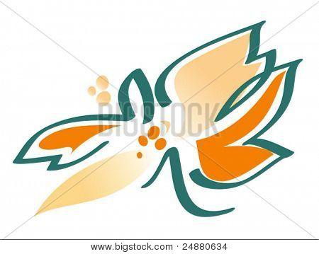 Blumen in Orange und Grün - Vektor-Grafik - Clipart