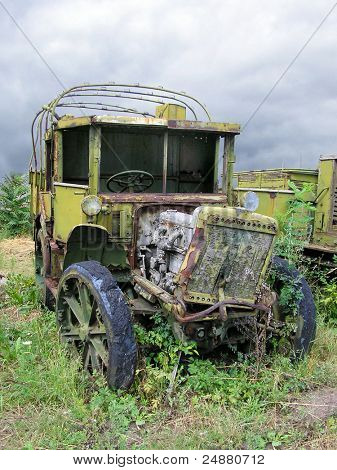 Old Ruined Russian Military Truck From WWII, Weeds, Dramatic Sky