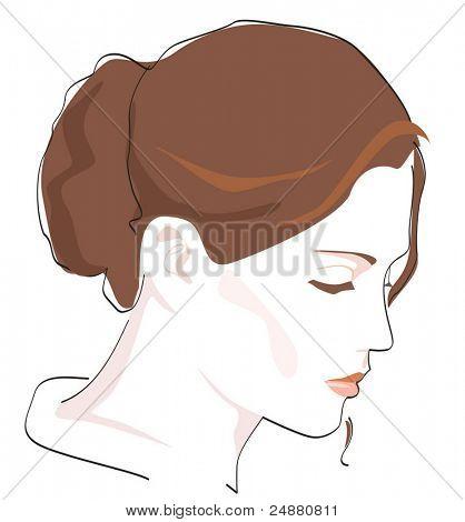 Woman's portrait. 3/4 profile