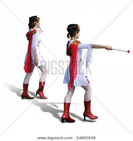 Two Young Majorettes, cheerleaders, with beautiful white dresses, red boots and scarfs
