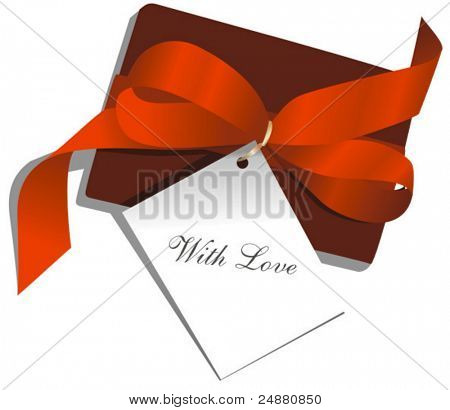 "Gegenwart, Red Ribbon, Card, St. Valentin, ""With Love"". Vektor-Illustration"