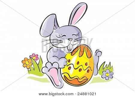 Cute rabbit holding Easter egg. Artistic vector illustration