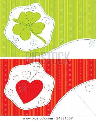 Greeting cards - Good luck, With love. Patchwork style. Vector illustration