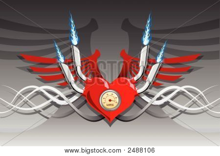 Vector Retro Motor Heart On A Silver Background