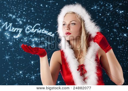 Christmas Girl Blowing From Hand...