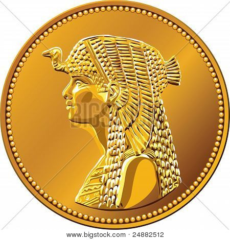 Vector Egyptian Money, Gold Coin Featuring Queen Cleopatra
