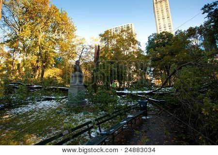 An Early And Heavy Snowstorm Wrecked Havoc On Central Park