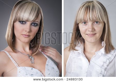 Pretty Young Woman Before And After Makeover In Studio