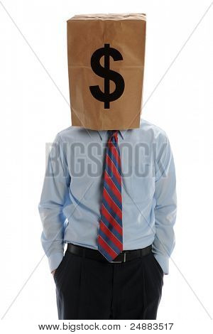 Businessman wearing a paper bag on his head isolated on a white background