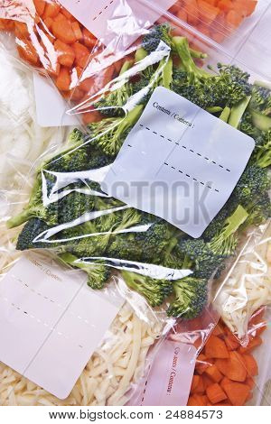 Chopped Vegetables in Freezer Bags