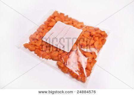 Chopped Carrots In Plastic Freezer Bag