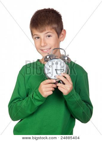 Adorable boy with a alarm-clock isolated on white background