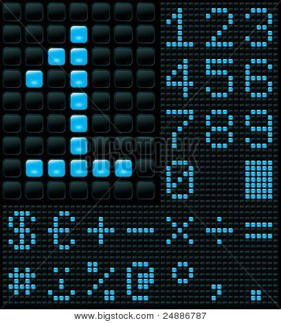 dot matrix display with digits and symbols