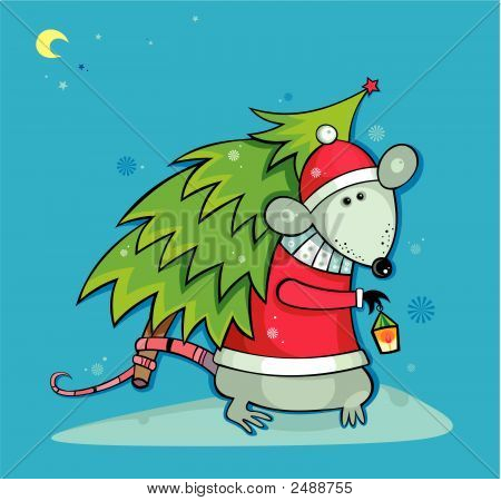 Santa Rat With Christmas Tree
