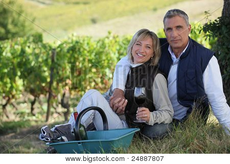 couple of radiant wine-growers posing in vineyards