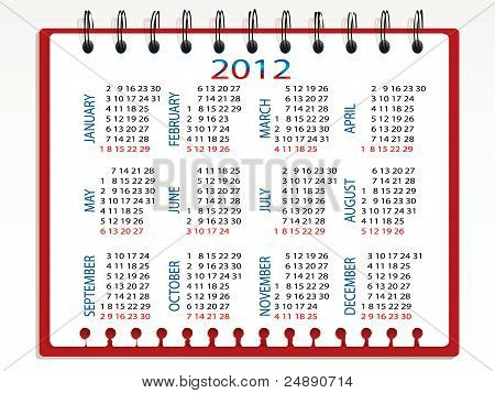 Spiral notebook calendar