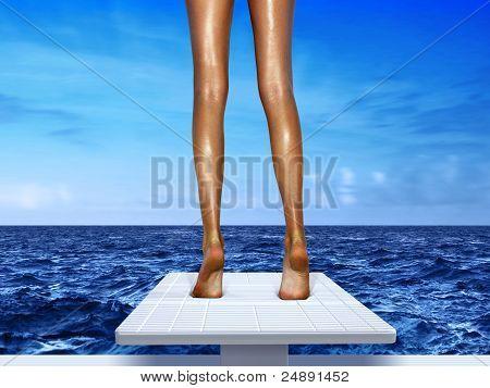 Beine auf Sprungbrett