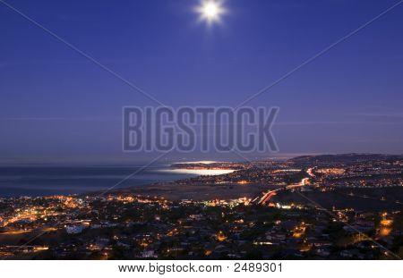 Beautiful Moon Set Over Dana Point