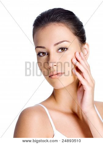 Woman With Clean Skin On A Face