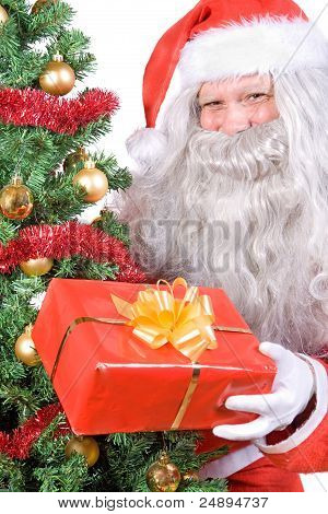 Santa Claus with Christmas gift