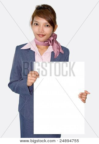 Businesswoman with sign