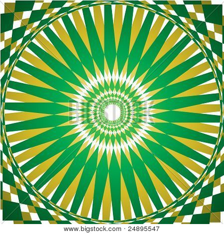 Folklore green and yellow kaleidoscope background