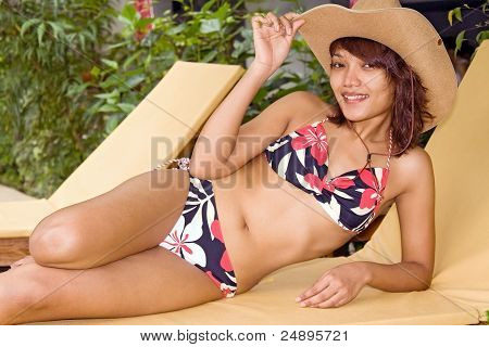Woman on deck chair