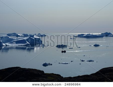 Fishing boat in Ilulissat Icefjord, Greenland