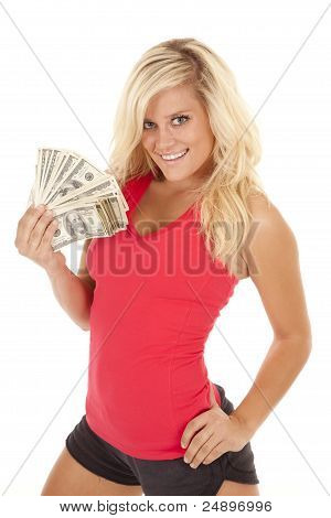 Woman Red Top Money Smile
