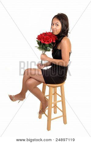 Pretty Girl With Roses.